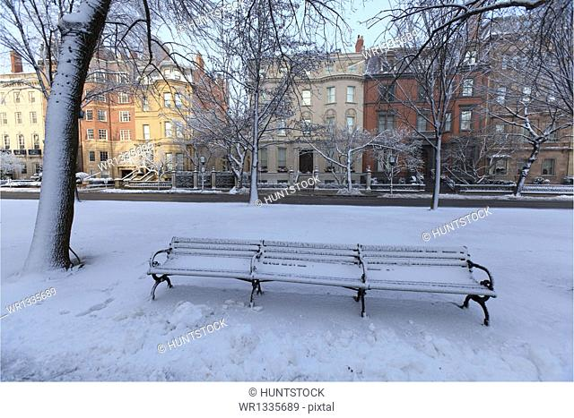 Bench in a park after a snow storm, Commonwealth Avenue Mall, Back Bay, Boston, Suffolk County, Massachusetts, USA