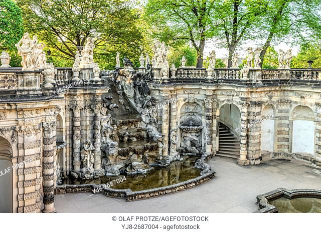 Nyphen Bath fountain at Dresden Zwinger Palace with view at the Great Cascade, Dresden, Saxony, Germany