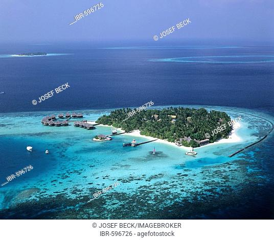 Aerial view of Baros, North Male Atoll, Maldives, Indian Ocean