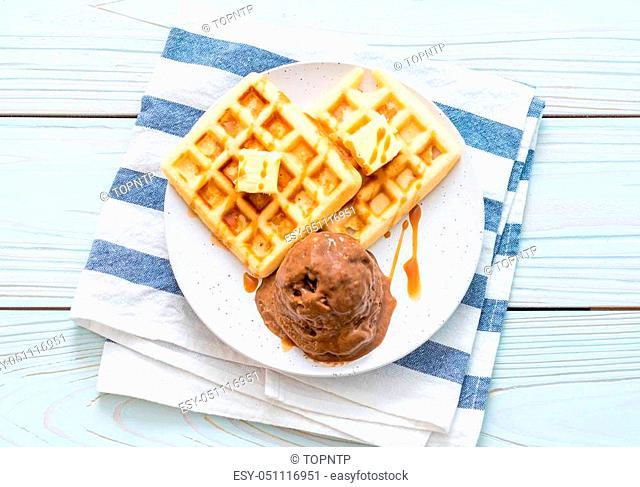 chocolate ice-cream with waffle and caramel sauce