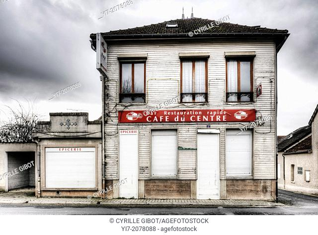 Closed cafe in French village, Aigny, Marne, France