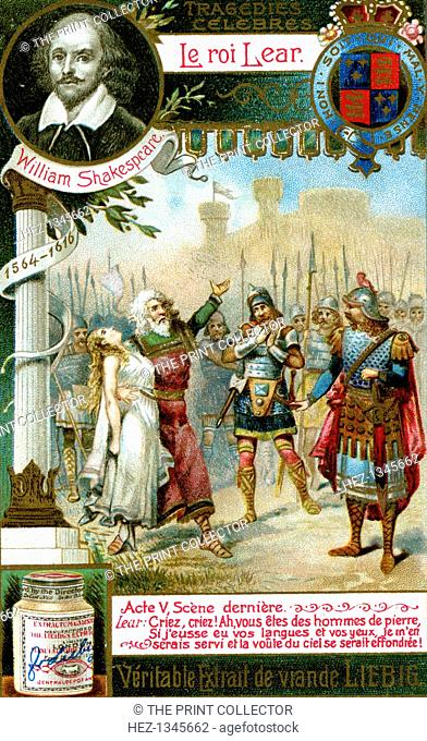 King Lear by William Shakespeare (1564-1616), (c1900). Act 4: Lear's Men of stone speech, with Cordelia dead in his arms