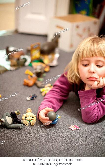 Boring girl while playing