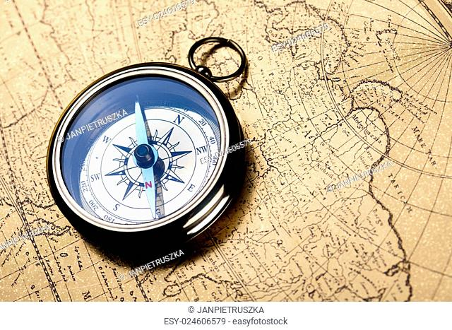 Compass & Old map, colorful bright journey theme