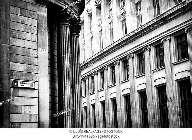 Classical Architecture in Bartholomew Lane in the City of London, England, UK