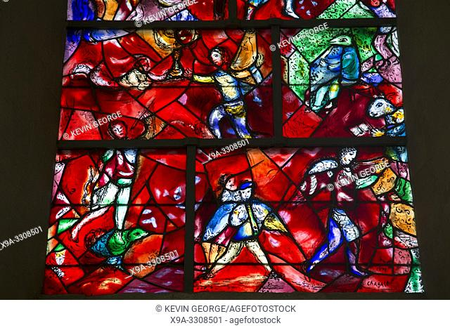 Stained Glass Window by Chagall, Chichester Cathedral Church, UK