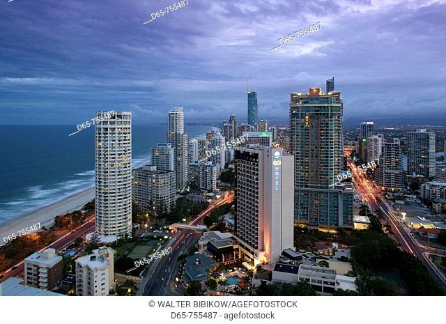 Australia - Queensland - Gold Coast - Surfer's Paradise: Evening view of Surfer's Paradise Highrises