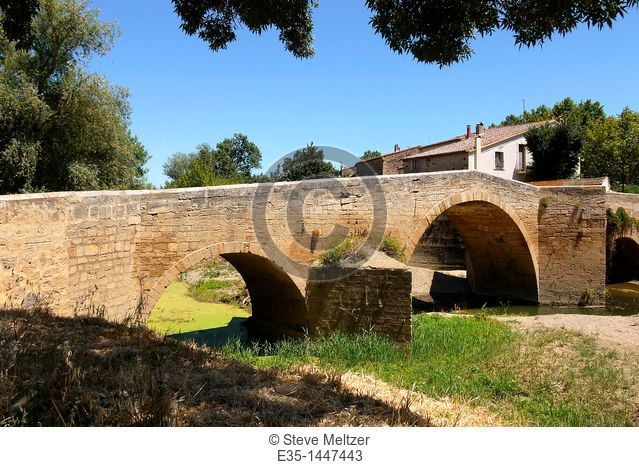 A 15th cenutyr bridge in he French Midi Town of St. Thibery, in the Herault