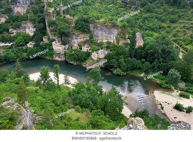 view on Castelbouc and the canyon of the river Tarn, France, Languedoc-Roussillon, Castelbouc