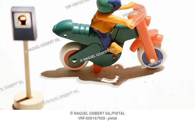 Stop motion of a motorbike