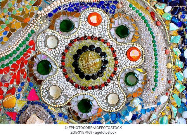 Lovely colorful mosaic mandalas decorated with gems, at Pha Sorn Kaew, in Khao Kor, Phetchabun, Thailand