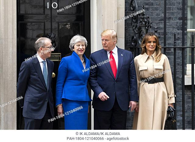PM Theresa May welcomes The President Donald Trump and First Lady Melania Trump at 10 Downing Street. London, UK. 04/06/2019   usage worldwide