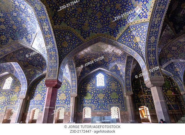 Blue tiles inside Imam Mosque, Isfahan, Iran
