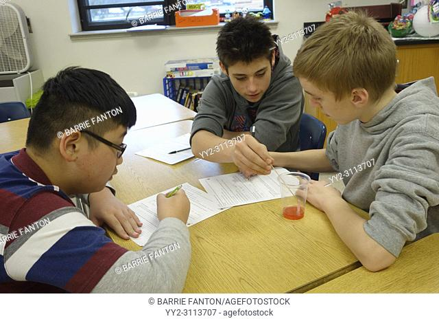 Students Doing Experiment in 7th Grade Science Class, Wellsville, New York, USA