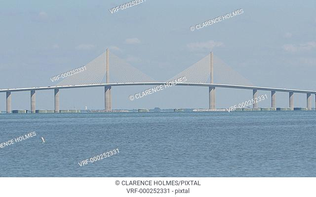 Traffic crosses the Sunshine Skyway Bridge over Tampa Bay as mullet jump out of the water