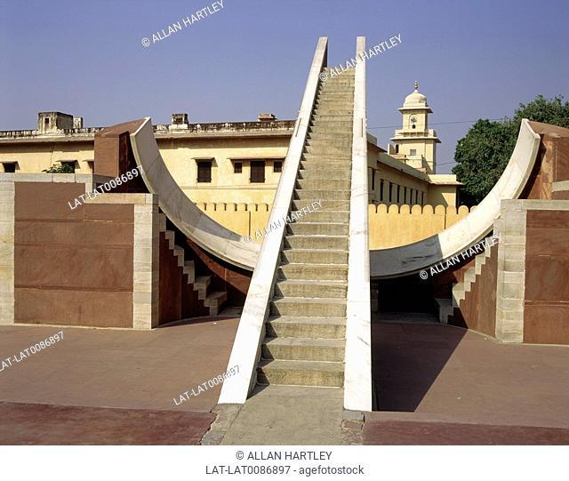 Samrat Jantar, the sundial at the Jantar Mantar observatory at Jaiprakash Yantra. Built by Maharaja Jai Singh ii in the early 18th Century