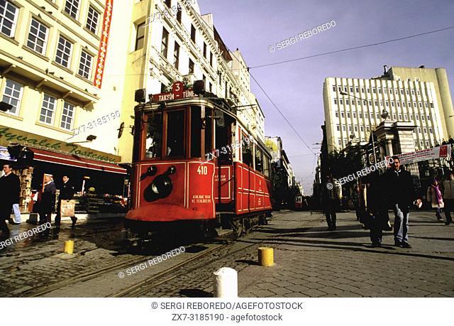 Historic Red Tram on Istiklal Caddesi, Beyoglu, Istanbul, Turkey