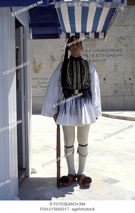 guard, Parliament, Athens, Greece, Europe, Guard of Honor (evzones) standing at his post at the House of the Greek Parliament at Plateia Syntagmatos...
