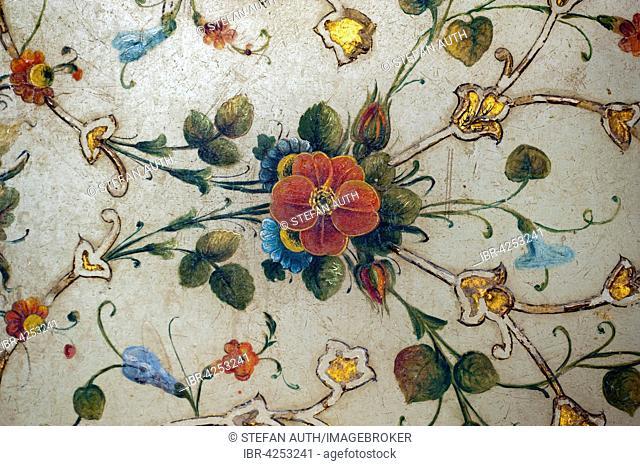 Mural, twining flowers, floral decor, Golestan Palace, Tehran, Iran