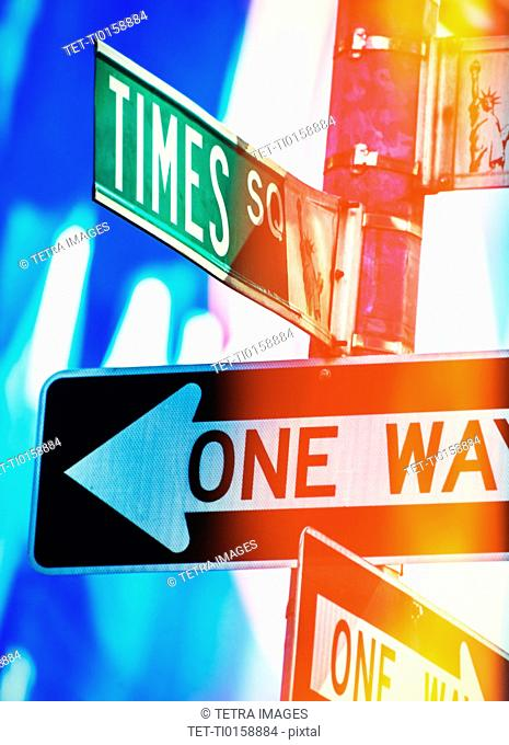 Directional signs at night