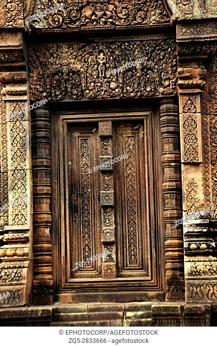 Carved door, Banteay Srei temple, Angkor, Cambodia. The citadel of women, this temple contains the finest, most intricate carvings to be found in Angkor