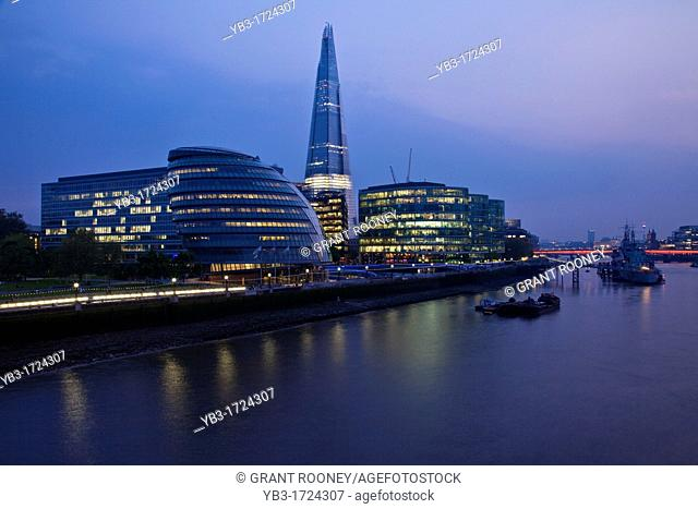View of The River Thames towards London Bridge, London, England
