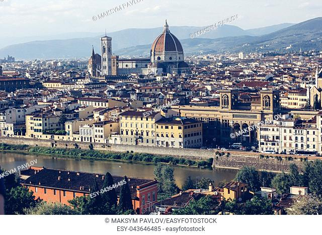 Florence, Italy, Cityscape of with the Cathedral and bell tower