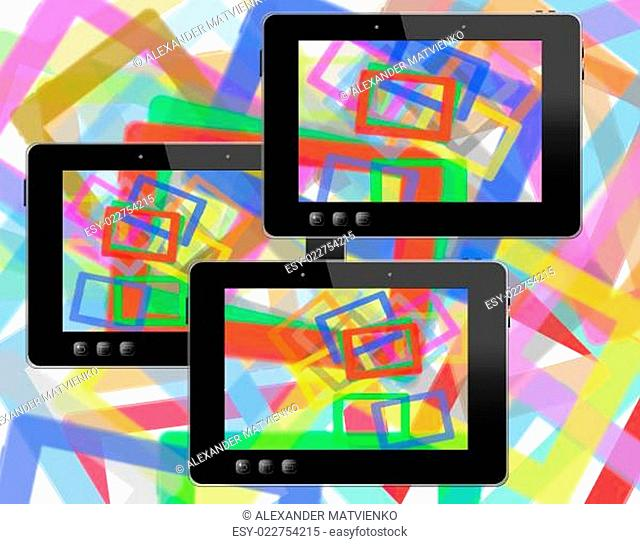 black tablets with abstract colorful pictures