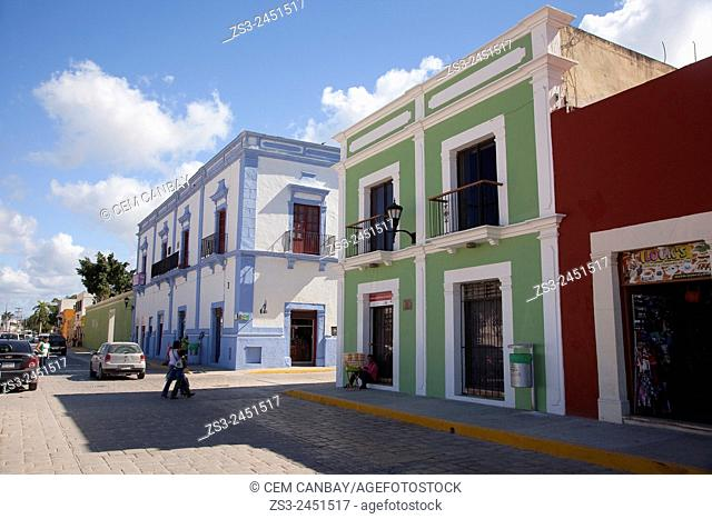 Houses at the historic center of Campeche, Campeche Region, Yucatan, Mexico, Central America