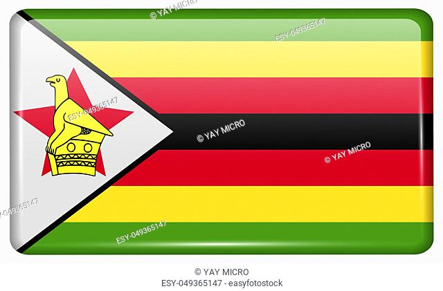 Flags of Zimbabwe in the form of a magnet on refrigerator with reflections light. illustration
