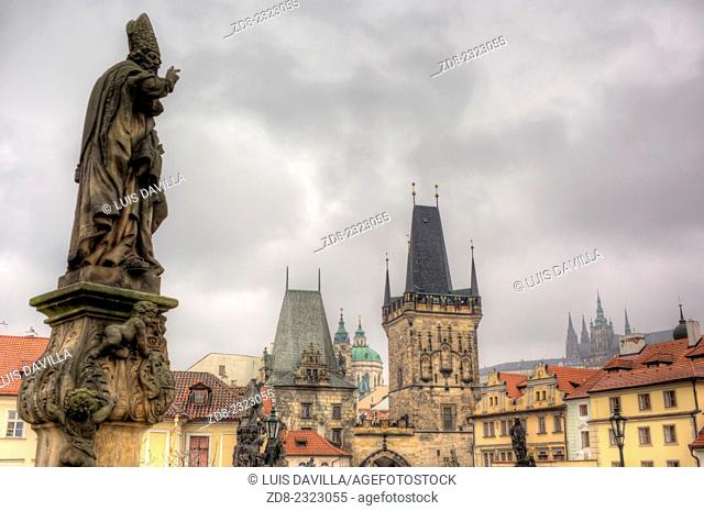 charles bridge. view to mala strana and the castle