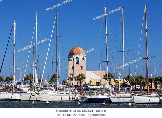 France, Aude, Gruissan, the port, tower of the captaincy