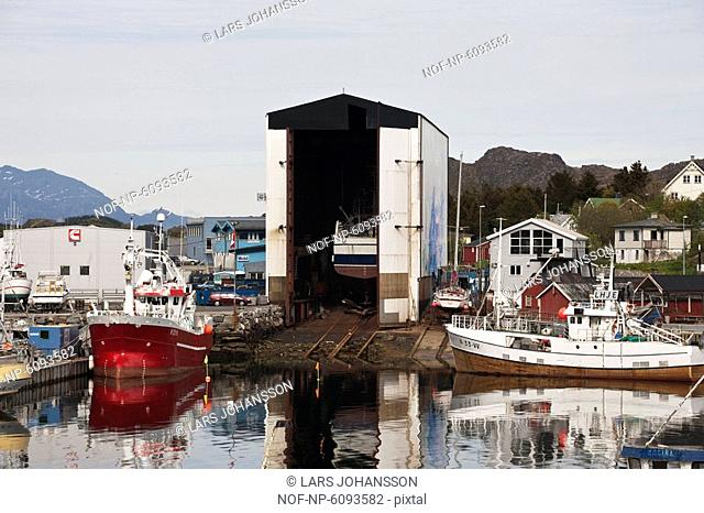 Shipyard in Ballstad. Lofoten. Norway