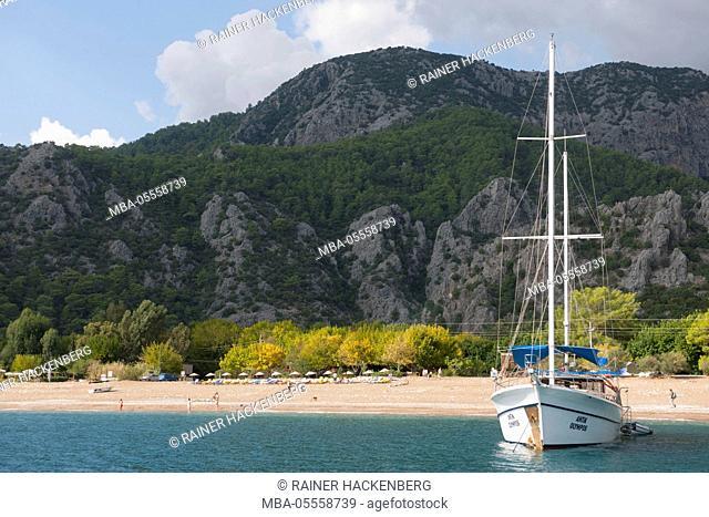 Turkey, Antalya, Cirali Köyü, at the beach of Olympos/Cirali