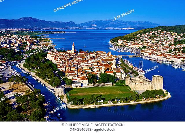 Croatia, Dalmatia, Trogir, Unesco world Heritage site, aerial view