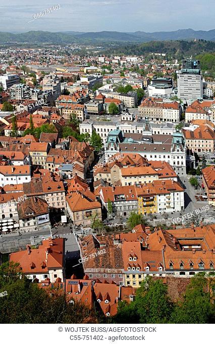 Ljubljana, City Center, from Ljubljana Castle, Slovenia