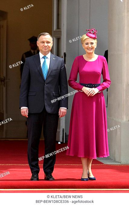 June 28, 2019 Warsaw, Poland. President Andrzej Duda and the First Lady Agata Duda welcoming Japan Crown Prince Akishino and Crown Princess Kiko