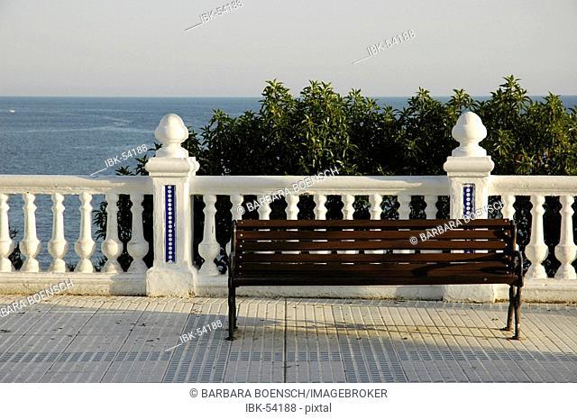 Bench with sea view, balcony of the Mediterranean, Benidorm, Costa Blanca, Spain