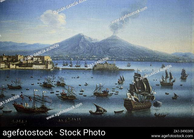 Chiaia Port overview, Naples, Italy, 18th Century, detail. Painted Juan Ruiz. Museo del Prado