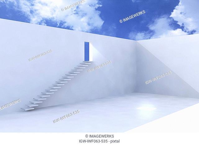 Surrounding wall with open door Digital Composite