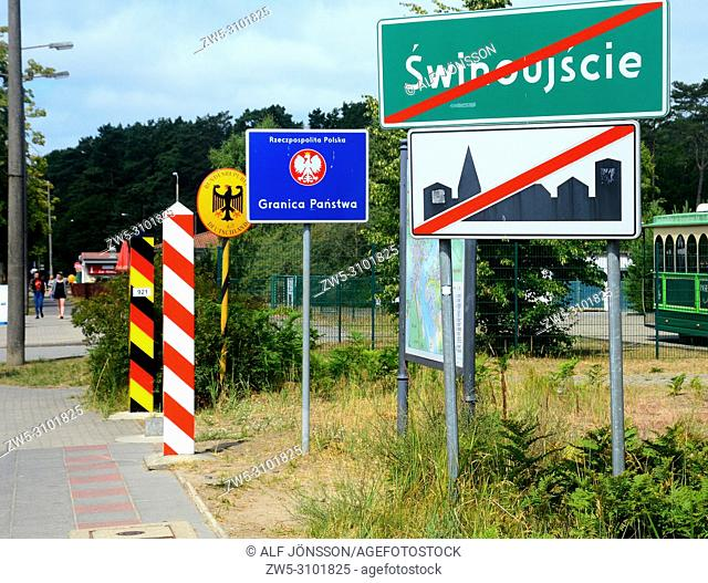 Signs at the Polish - German border at Ahlbeck and Swinoujscie, Germany, Poland