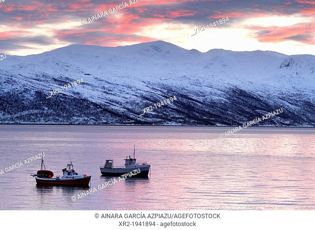 Fishing boats in norwegian fjords
