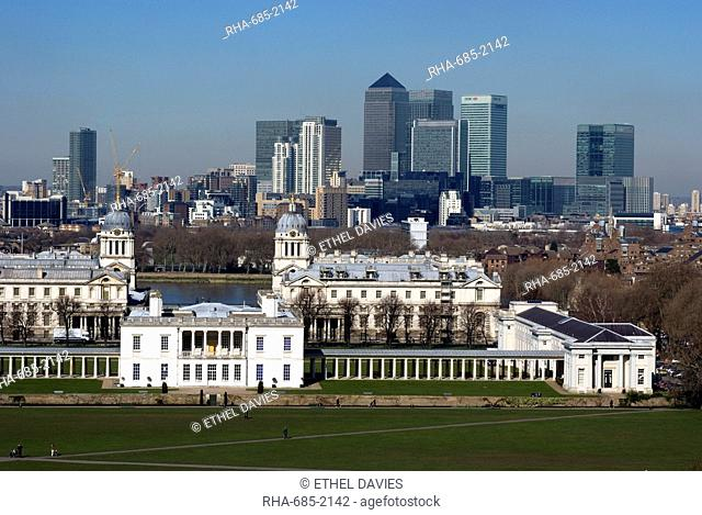View from Greenwich Park overlooking the Royal Maritime Museum, UNESCO World Heritage Site, with Docklands and Canary Wharf on the other side of the Thames
