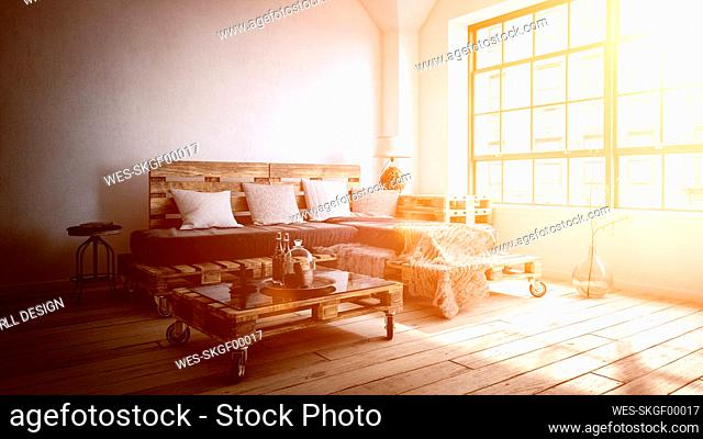 Three dimensional render of setting sun illuminating living room with furniture made of wooden pallets