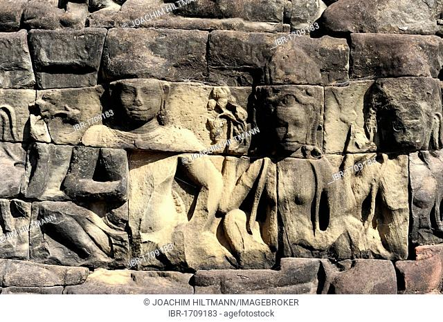 Detail, relief of deities on the terrace of the Leper King, Angkor Thom, Angkor, UNESCO World Heritage Site, Siem Reap, Cambodia, Southeast Asia, Asia