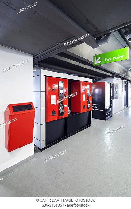 Ticket machines in the interior of Q-Park Eyre Square car park, Galway, Co. Galway, Ireland