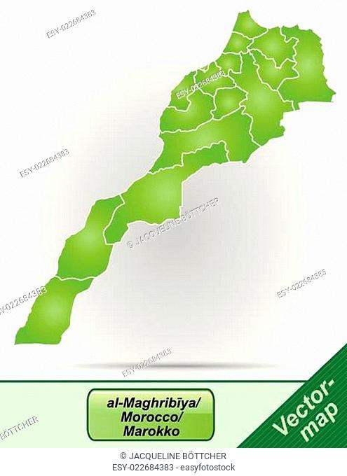 Grenzkarte von Marokko mit Grenzen in Grün