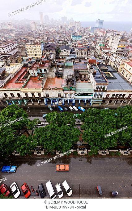 Cityscape and rooftops of Cuban city
