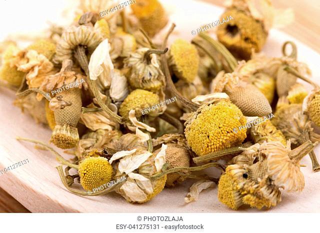 Close macro view of chamomile tea in the spoon