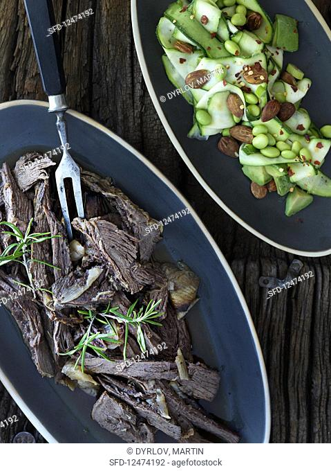 Pulled beef with a courgette and bean salad